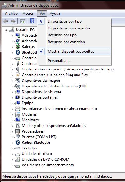 Ver dispositivos ocultos en Windows 7